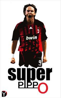 Fan Art: Filipo Inzaghi (AC Milan) #Football #Legend