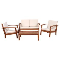 4-piece indoor/outdoor eucalyptus wood seating group with removable cushion covers.  Product: Loveseat, coffee table and 2 chairs...