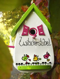 Nesting Boxes & Bird Houses – Bird House, Bird Villa, Nest Box, Bird Feeder – a unique product by Vogelliebe-Shop on DaWanda by Birdhouse Craft, Bird Houses Painted, Bird Boxes, House Gifts, Fabric Birds, Nesting Boxes, Birthday Presents, Bird Feeders, Creations