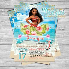 Moana Birthday Invitation | Princess Moana Birthday | Disney Moana | Disney | Moana Birthday | Moana Party by JexzaiCC on Etsy https://www.etsy.com/listing/512356548/moana-birthday-invitation-princess-moana