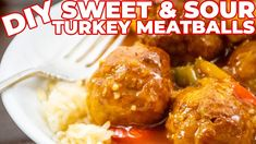 I made SWEET & SOUR TURKEY MEATBALLS (so juicy!) Turkey Meatballs, Chef Recipes, Original Recipe, Easy Meals, Chicken, Ethnic Recipes, Sweet, Food, Candy