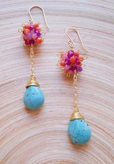 Gloria gemstone cluster dangle drop earrings pink orange