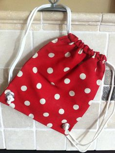 child's purse drawstring backpack in red and white by Purseptions, $15.00