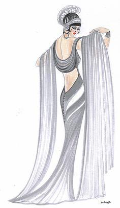 Art Deco Lady - Grace Canvas Print / Canvas Art by Di Kaye