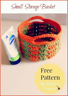 Crochet Easter Basket and Small Storage Basket, 2 patterns in 1 - The Yarn Box Crochet Bowl, Crochet Basket Pattern, Easter Crochet, Crochet Crafts, Crochet Projects, Free Crochet, Crochet Patterns, Crochet Baskets, Ravelry Crochet