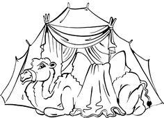 Kamel vor Zelt
