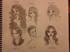 MBTI personalities as people - INFP, INFJ, ENFP, INTJ, ESTP, ISFJ - Creeaytivray