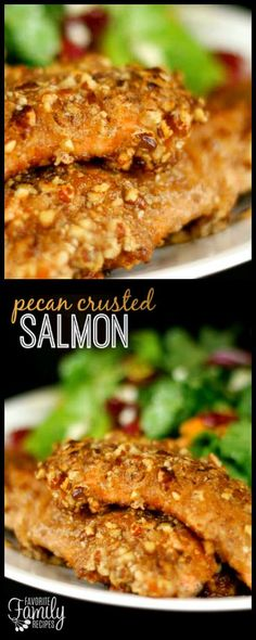 A pecan topping gives this Pecan Crusted Salmon a sweet and savory crust while the fish is tender and flakey. It is a delicious way to prepare baked salmon! via (Baking Salmon Whole Fish Dishes, Seafood Dishes, Fish And Seafood, Seafood Gumbo, Salmon Dishes, Main Dishes, Healthy Salmon Recipes, Fish Recipes, Seafood Recipes