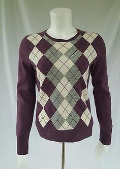Tweeds Small 100% Cashmere Crewneck Sweater Argyle Purple Gray Long Sleeve