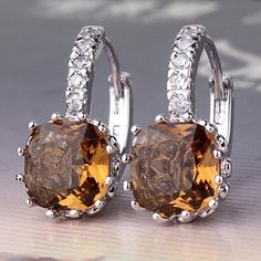 Anzona Earring 2015 Latest Design 18K White Gold Filled Charming Earing Hot Romantic Hoop Earring Special Smoky Topaz Zircon Lady Jewelry E001i * See this great product. Note:It is Affiliate Link to Amazon.
