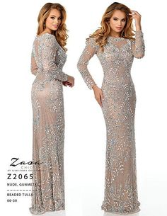 Zasa Chic by Karishma Creations Z 2065 Gunmetal Size 14 Prom Dress Pageant Gown Long Mothers Dress, Mothers Dresses, Mother Of Bride Outfits, Mother Of The Bride Gown, Pageant Dresses, Modest Dresses, Sequin Dress With Sleeves, Long Sleeve Evening Gowns, Prom Dresses With Pockets