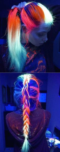 This glow-in-the-dark hair trend lets you appreciate colorful, luminous locks wh. : This glow-in-the-dark hair trend lets you appreciate colorful, luminous locks wh. Coloured Hair, Dye My Hair, Diy Hair Dye, Cool Hair Color, Amazing Hair Color, Awesome Hair, Rainbow Hair, Crazy Hair, Hair Designs