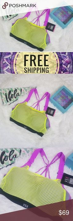 Neon yellow mesh Victoria's Secret sports bra 32c Nwt Victoria's secret neon yellow/gray sports bra Size 32c Bundle and save Free shipping details in last pic  #Tags, neon ,gray, yellow ,sport , workout, healthy fashion clothes, gym clothes , bra , trendy, fashionable, brand new bra Victoria's Secret Intimates & Sleepwear Bras