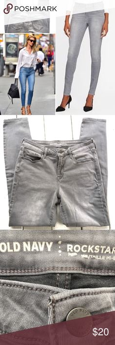 """Old Navy Rock Star Jeans Size 8 Gray Pre Owned. As good as new. No signs of wear at all.  Old Navy Rock Star Jeans.  The favorites! Mid rise, wonderful-soft fabric, comfortable and stretchy. Slimming cut. Slim Jeans. Suitable for curvy/hourglass and all shapes.  Size 8. True to size.  Pls check measurements for a perfect fit.  Waist 14.5"""" Hip 17.75"""" Rise 10"""" Inseam 28.75"""" Length 37.75"""" Bundle two or more items from my closet, get a bundle discount and save on shipping. Old Navy Jeans Skinny"""