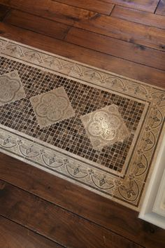 wood flooring with tile inlay  Schrader & Companies, Edina, Hilldale Neighborhood Custom Designed Home #pattern #wood #flooring