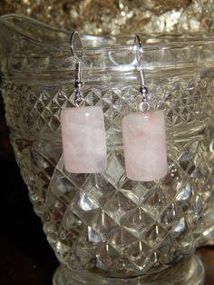 Genuine ROSE QUARTZ Gemstone Earrings  Half Cylinder by esoTERRAca
