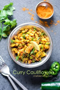 Curried Cauliflower is one of very commonly prepared vegetable curry in my home. Traditionally, cauliflower curry is prepared with potatoes or sweet green peas and all spices mentioned in the recip...