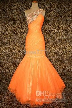 Wholesale NEON ORANGE EVENING PAGEANT PROM FORMAL BALL GALA GOWN DRESS size 4, $117.6-128.8/Piece   DHgate