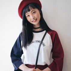 Something Raglan T (t1372) - 韓国ファッション通販【 GIRLS RULE ガールズルール】