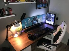 This list of the most advanced, smart, and innovative video game room ideas will. This list of the most advanced, smart, and innovative video game room ideas will guide you to find Setup Desk, Computer Desk Setup, Gaming Room Setup, Home Office Setup, Pc Setup, Home Office Design, Pc Desk, Office Style, Office Desk