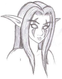 Night Elf by AEIFS on DeviantArt Scary Drawings, Pencil Sketches Easy, Dark Art Drawings, Anime Drawings Sketches, Art Drawings Sketches Simple, Pencil Art Drawings, Drawing Ideas, Drawing With Pencil, Cool Simple Drawings