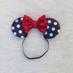 Minnie Mouse Ears on Elastic Headband