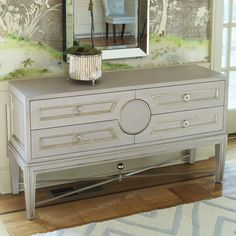 Global Views Furniture Collectors Grey Console @Sarah Chintomby Nasafi Grayce NEEDS A GLASS BOTTLE LAMP ON EACH END...