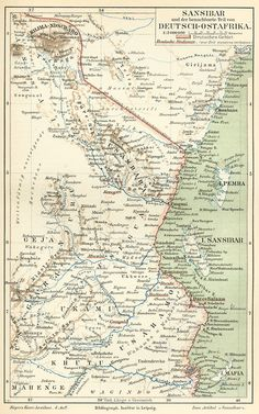 German map of Zanzibar and German East Africa c. 1890, with Mount Kilimanjaro