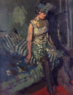 Walter Richard Sickert - A Dancer in a Green Dress, Marie, 1916 Figure Painting, Painting & Drawing, Walter Sickert, Art Deco, Impressionist Artists, Group Art, Art Uk, Your Paintings, Figurative Art