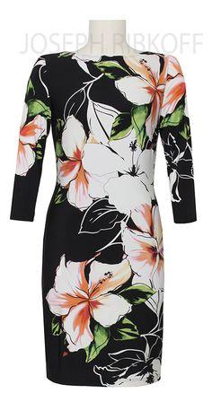 Joseph Ribkoff Tropical Print dress.  Available now at Aspirations.