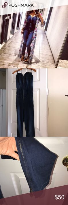 Denim jumpsuit Washed indigo blue jean jumpsuit. Zipper front detail with boning throughout the bust and torso. Two front slit pockets, two back classic pockets. Ankle zip detail. 42% cotton, 2% Lycra,  50% modal, 8% polyester. Nice and stretchy. Very comfortable. Super cute 💕 Guess Pants Jumpsuits & Rompers