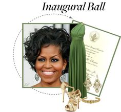 """Styling the First Lady Michelle Obama for the Inaugural Ball 2013"" by jenalind ❤ liked on Polyvore"