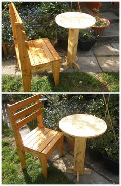 My pallet table and I went for a Bistro design for this one. Pallet Chair, Diy Pallet Furniture, Outdoor Furniture, Pallet Tables, Furniture Ideas, Furniture Design, Recycled Pallets, Wooden Pallets, 1001 Pallets