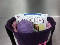"Great auction idea: hand-made crochet bag, yarn, ""I taught myself to crochet"" book, crochet hook and maybe add one personal crochet lesson"