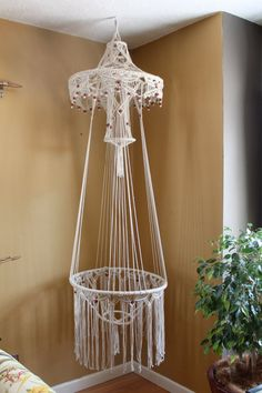 70s hanging Macrame planter  table by kuhlstuff on Etsy, $175.00
