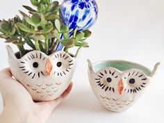 Ceramic Owl Planter - Ceramics and Pottery - Owl Decor