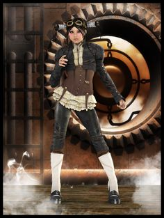 SteamPunk Aviator by *Dannie3D #SteamPUNK ☮k☮ girl