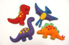 Felt Plushie Dinosaur Collection Handsewing Pattern PDF. INSTANT instructions to make Trex, Diplodocus, Pterodactyl and Stegosaurus.