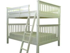 Bedz King Bunk Bed Full over Full Mission Style in White $528 at Bunk Bed King…