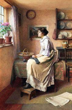 Charles Edward Wilson - Knitting << knitter knitting art portrait