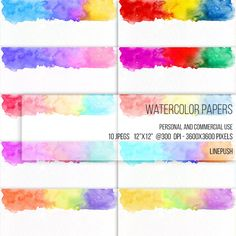 SALE! Watercolor papers. Watercolor headers, footers, borders, letterheads Digital papers Rainbow colors, pastel. Scrapbooking Stationery by LinePush on Etsy