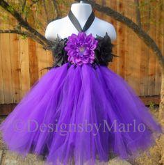 Purple flower girl dress black purple tutu dress by Designsbymarlo, $59.50