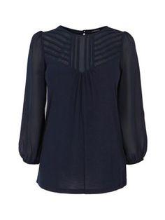 Warehouse L/s pintuck yoke blouse Navy - House of Fraser