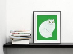 Fancy Feast Cat Illustration Cat Art Free US Shipping by Gingiber