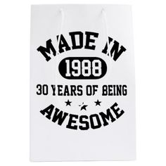 Made In 1988 30 Years Of Being Awesome Medium Gift Bag - giftidea gift present idea number thirty thirtieth bday birthday 30thbirthday party anniversary 30th