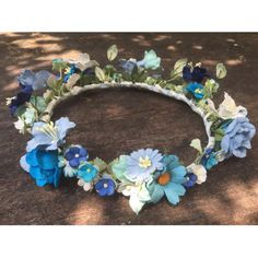 Sale Blue White Mulberry Paper Flower Wedding Bridal Bridemaid... ($16) ❤ liked on Polyvore featuring accessories, hair accessories, flower headband, hippie flower headbands, rose flower crown, bridal hair accessories and rose headband