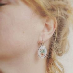 Handmade dangle earrings Original watercolor por MusettayMimi