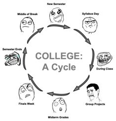 The College Cycle...only 2 more semesters of this lol but last semester will be in group project mode for capstone