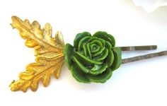 #Autumn #Gold #Leaves Fall Green #Hair Clips Pins by PlumePretty, $18.00#woodland#bridal