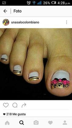 Uñas Cute Pedicures, Pedicure Nails, Cute Toes, Pretty Toes, Toe Nail Art, Toe Nails, Queen Nails, French Pedicure, Nails Only
